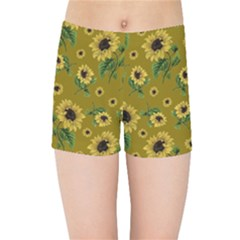 Sunflowers Pattern Kids Sports Shorts