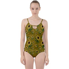 Sunflowers Pattern Cut Out Top Tankini Set