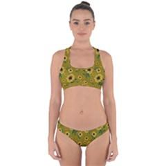 Sunflowers Pattern Cross Back Hipster Bikini Set