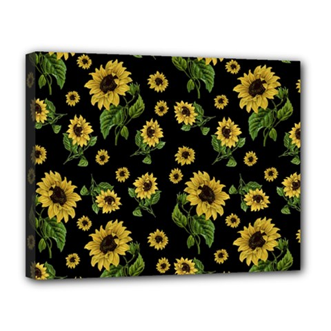 Sunflowers Pattern Canvas 14  X 11