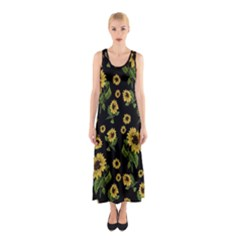 Sunflowers Pattern Sleeveless Maxi Dress