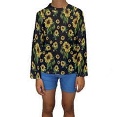 Sunflowers Pattern Kids  Long Sleeve Swimwear