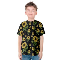 Sunflowers Pattern Kids  Cotton Tee
