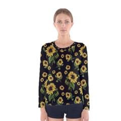 Sunflowers Pattern Women s Long Sleeve Tee