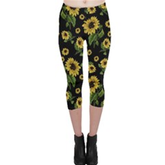 Sunflowers Pattern Capri Leggings