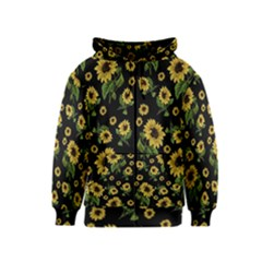 Sunflowers Pattern Kids  Zipper Hoodie