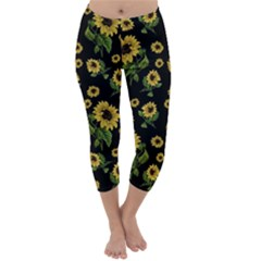 Sunflowers Pattern Capri Winter Leggings