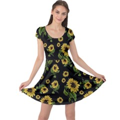 Sunflowers Pattern Cap Sleeve Dress