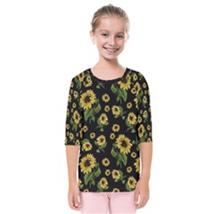 Sunflowers Pattern Kids  Quarter Sleeve Raglan Tee