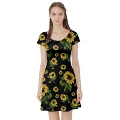 Sunflowers Pattern Short Sleeve Skater Dress