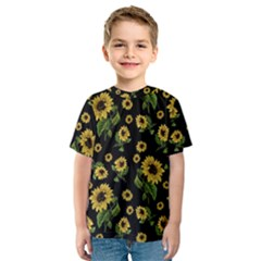Sunflowers Pattern Kids  Sport Mesh Tee