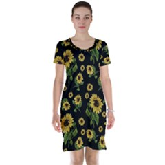 Sunflowers Pattern Short Sleeve Nightdress