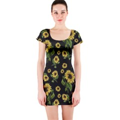 Sunflowers Pattern Short Sleeve Bodycon Dress