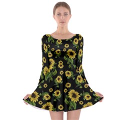 Sunflowers Pattern Long Sleeve Skater Dress