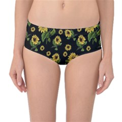 Sunflowers Pattern Mid Waist Bikini Bottoms