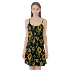 Sunflowers Pattern Satin Night Slip