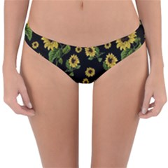 Sunflowers Pattern Reversible Hipster Bikini Bottoms