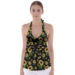 Sunflowers Pattern Babydoll Tankini Top