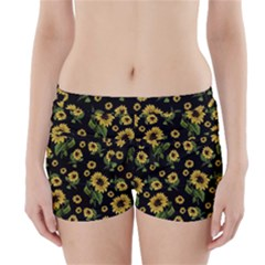 Sunflowers Pattern Boyleg Bikini Wrap Bottoms