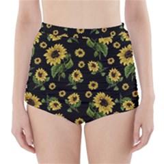 Sunflowers Pattern High Waisted Bikini Bottoms