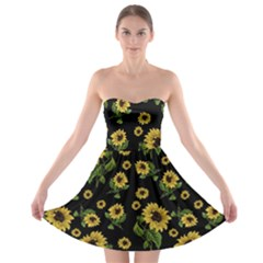 Sunflowers Pattern Strapless Bra Top Dress