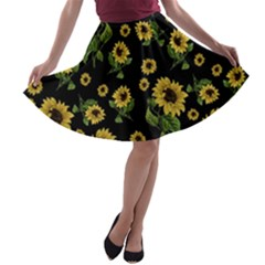 Sunflowers Pattern A Line Skater Skirt