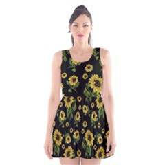 Sunflowers Pattern Scoop Neck Skater Dress