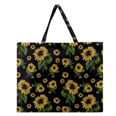 Sunflowers Pattern Zipper Large Tote Bag