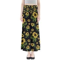 Sunflowers Pattern Full Length Maxi Skirt