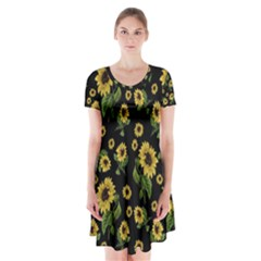 Sunflowers Pattern Short Sleeve V Neck Flare Dress