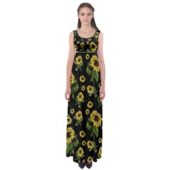 Sunflowers Pattern Empire Waist Maxi Dress