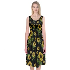 Sunflowers Pattern Midi Sleeveless Dress