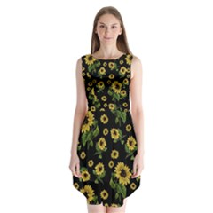 Sunflowers Pattern Sleeveless Chiffon Dress