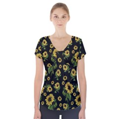 Sunflowers Pattern Short Sleeve Front Detail Top