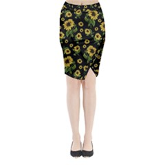 Sunflowers Pattern Midi Wrap Pencil Skirt