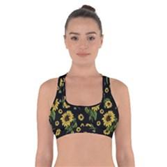 Sunflowers Pattern Cross Back Sports Bra