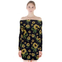 Sunflowers Pattern Long Sleeve Off Shoulder Dress