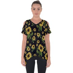 Sunflowers Pattern Cut Out Side Drop Tee