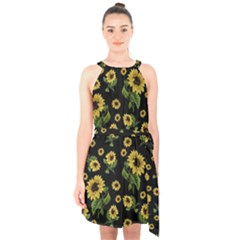 Sunflowers Pattern Halter Collar Waist Tie Chiffon Dress
