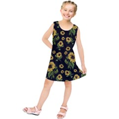 Sunflowers Pattern Kids  Tunic Dress