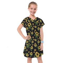 Sunflowers Pattern Kids  Drop Waist Dress