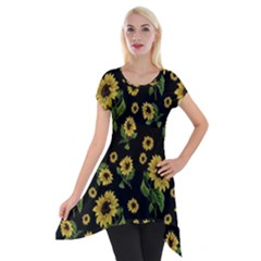 Sunflowers Pattern Short Sleeve Side Drop Tunic