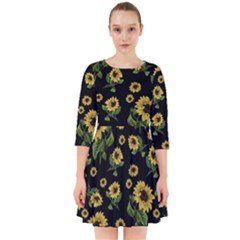 Sunflowers Pattern Smock Dress