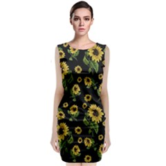 Sunflowers Pattern Sleeveless Velvet Midi Dress