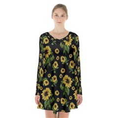 Sunflowers Pattern Long Sleeve Velvet V Neck Dress