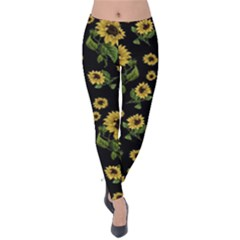 Sunflowers Pattern Velvet Leggings