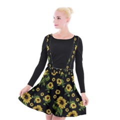 Sunflowers Pattern Suspender Skater Skirt