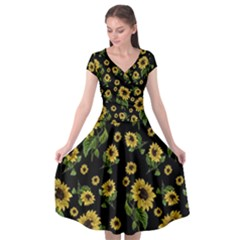 Sunflowers Pattern Cap Sleeve Wrap Front Dress