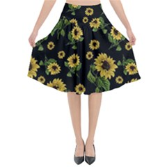 Sunflowers Pattern Flared Midi Skirt