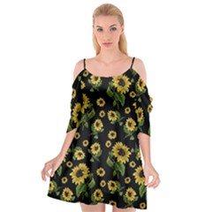 Sunflowers Pattern Cutout Spaghetti Strap Chiffon Dress